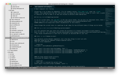The Sublime code editor showing a Markdown file from the Calypso source code repository.